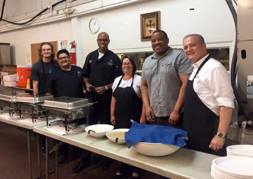 General Manager, Ted Selogie and his team from the JW Marriott serving on June, 7, 2016 at the New Orleans Mission.